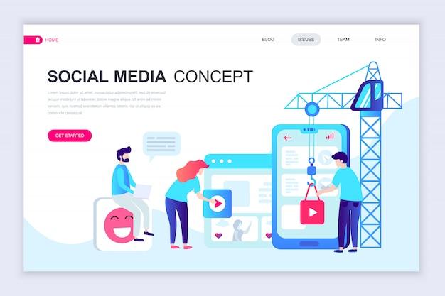 Modern flat web page design template of social media