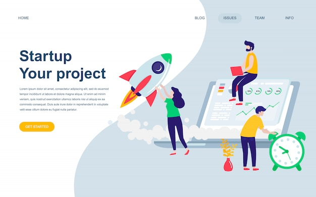 Modern flat web page design template of startup project