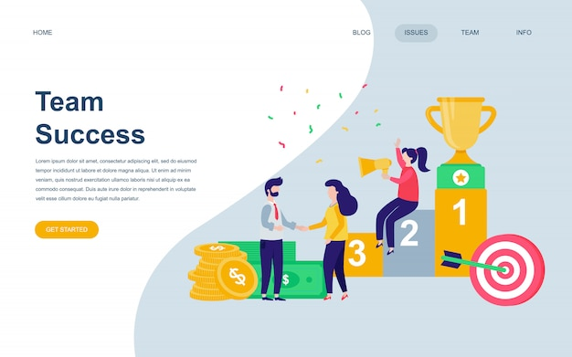 Modern flat web page design template of team success