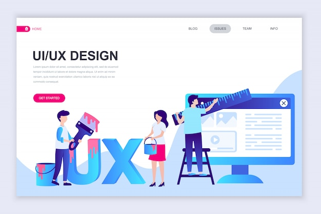Modern flat web page design template of ux, ui design