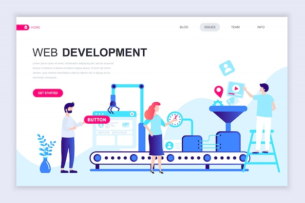 Modern flat web page design template of web development