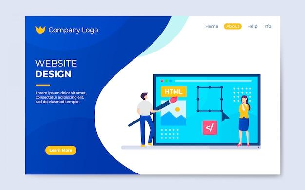현대 평면 웹 사이트 디자인 방문 페이지 템플릿 일러스트