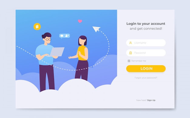Modern flat website login page templates