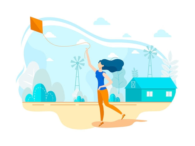 Modern flat woman running flying kite on open air.