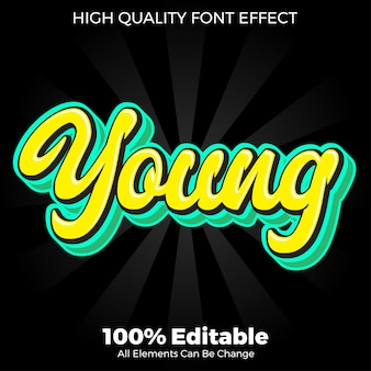 Modern flat young text style editable font effect