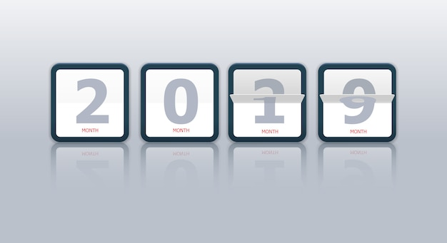 Modern flip calendar changing from 2019 to 2020