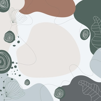 Modern floral colorful background with abstract shapes leaves