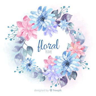 Modern floral frame with watercolor style
