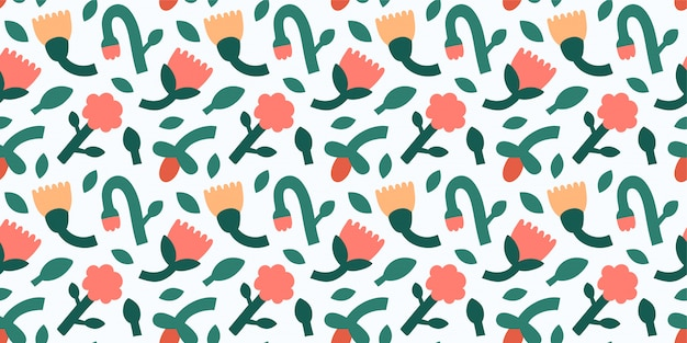 Modern floral ornament, seamless pattern