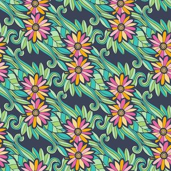花と葉と現代の花のシームレスなパターン
