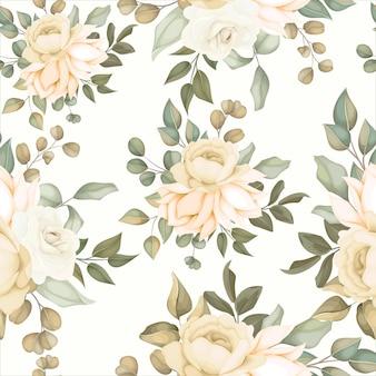 柔らかい花とモダンな花のシームレスなパターン