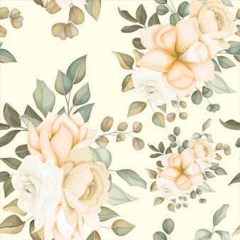 부드러운 꽃을 가진 현대 꽃 원활한 패턴