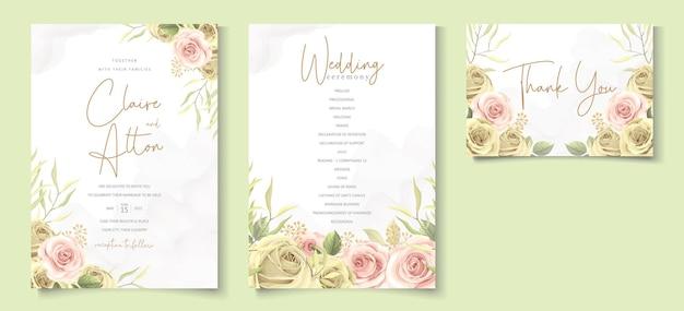 현대 꽃 웨딩 카드 개념