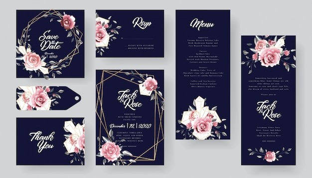 Modern floral wedding invitation card collection