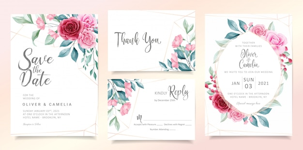 Modern floral wedding invitation card template set with elegant watercolor flowers and leaves.