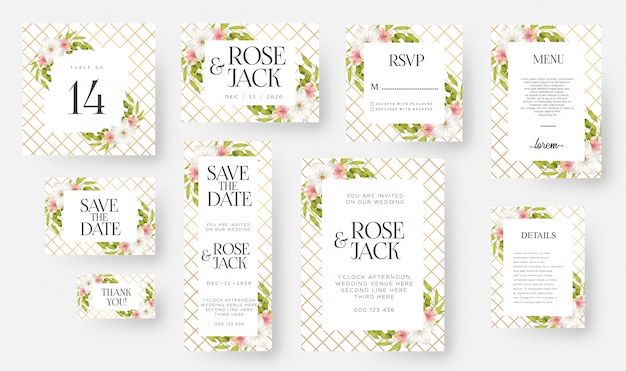 Modern floral wedding invitation card template set with watercolor flowers & leaves