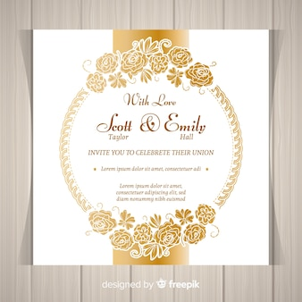 Modern floral wedding invitation template with golden frame