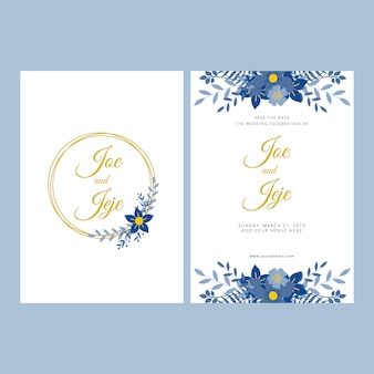 Modern floral wedding invitation template