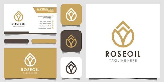 Modern flower lotus sign line art combined with essential oil drops looks minimalist and clean. logo design and business card
