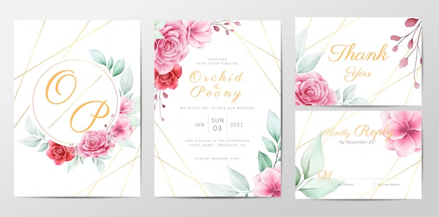 Modern flowers wedding invitation cards template set