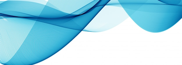Modern flowing blue wave banner on white
