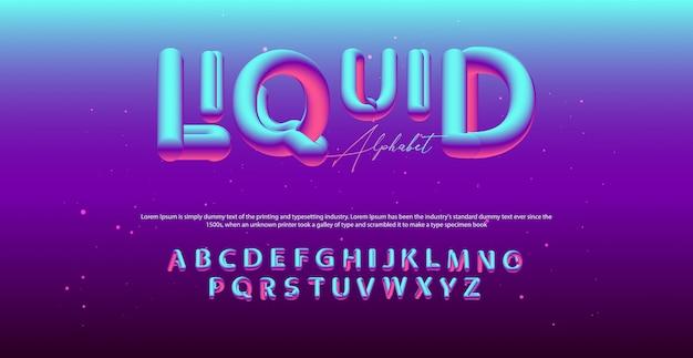 Modern fluid alphabet font. typography ballon style fonts