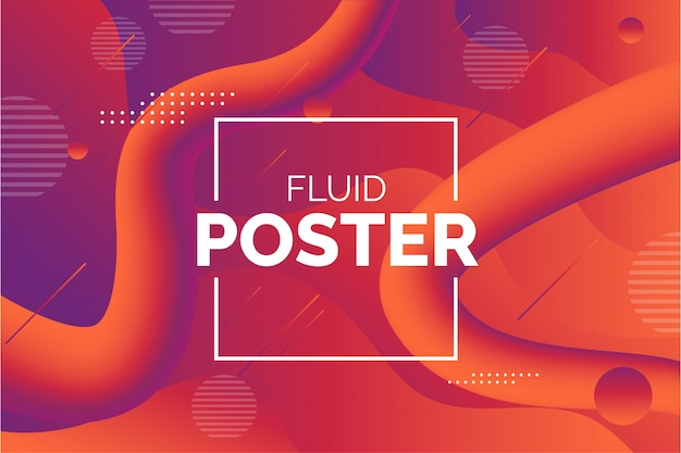 Modern fluid poster with abstract shapes