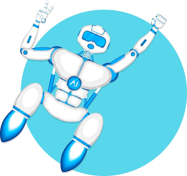 Modern fly robot isolated on blue background