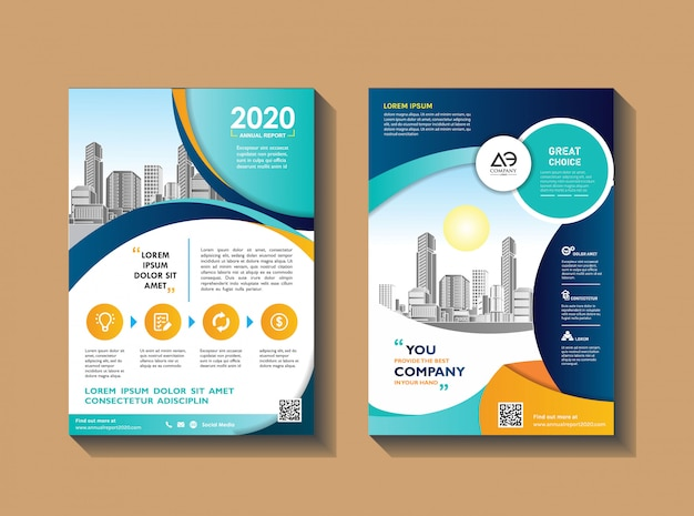 Modern flyer layout for annual report with city