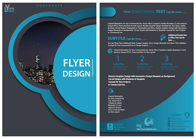 Modern flyer template with geometric design in blue tones