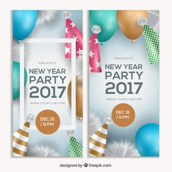 Modern flyers for 2017 new year party