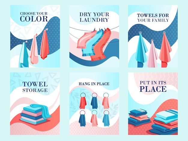 Modern flyers design for towels store. hotel, laundry or shop advertisement with text. textile and fabric concept. template for promotional leaflet or brochure