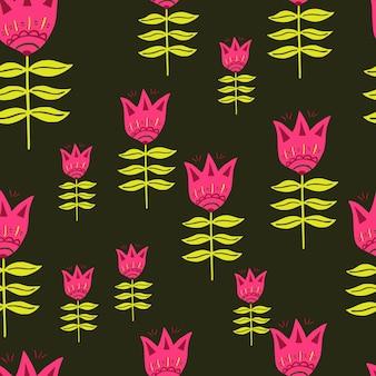 現代の民芸パターン。ピンクの花。北欧スタイル。花の自然の壁紙。生地のデザイン、テキスタイルプリント、ラッピング、カバーに。簡単なベクトルイラスト。