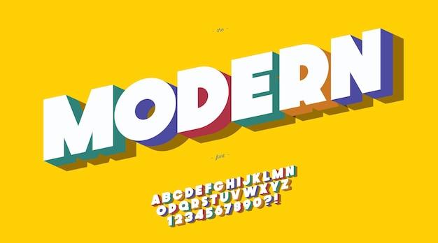 현대 글꼴 3d 대담한 스타일. 트렌디 한 알파벳과 숫자