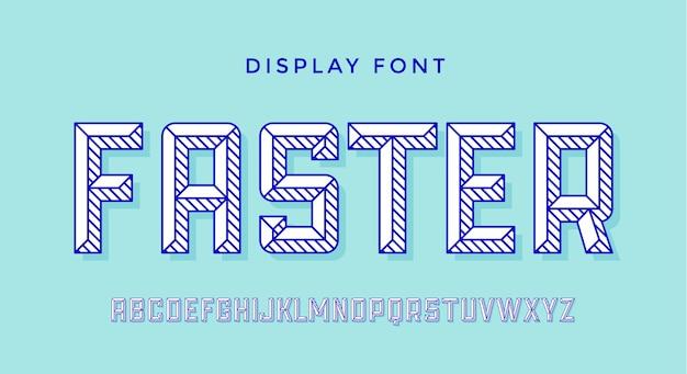 현대 글꼴. 다채로운 현대 선 알파벳 및 글꼴. 굵은 대문자 복고풍 문자