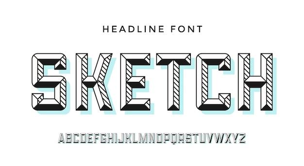 현대 글꼴. 다채로운 현대 선 알파벳 및 글꼴