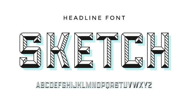 Modern font . colorful modern line alphabet and font