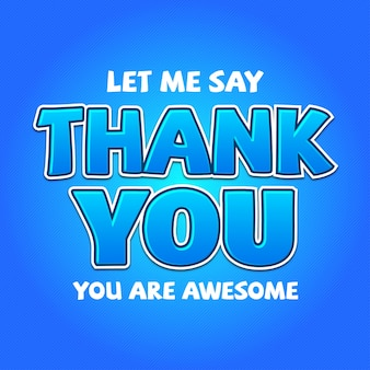 Modern font effect for thank you greeting card