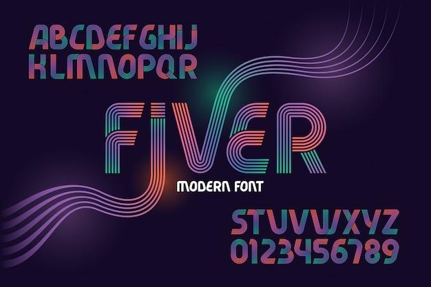 선으로 만든 현대 글꼴 세트