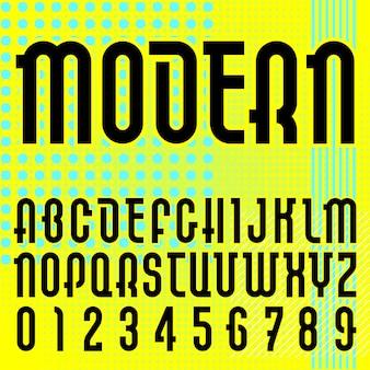 モダンフォント。トレンディなアルファベット、明るい背景に黒のベクトル文字。