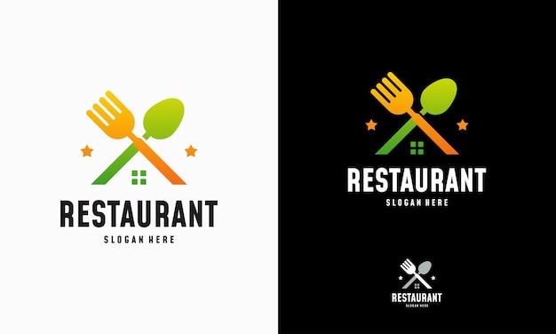 モダンフードハウスのロゴデザインコンセプトベクトル、レストランのロゴシンボルアイコン