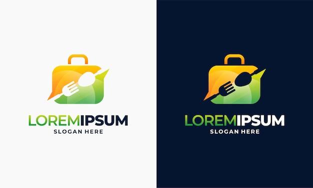 Дизайн логотипа современной еды, иллюстрация шаблона логотипа чемодана еды