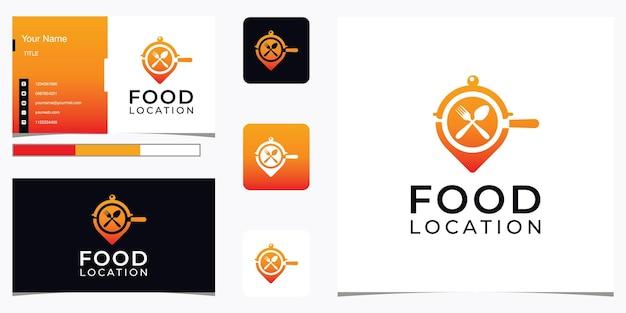 モダンな食べ物の場所のロゴと名刺、ディナー、ランチ、場所、地図、ピン