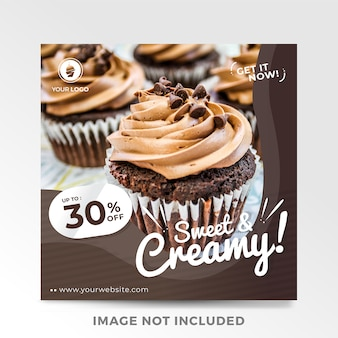 Modern food sale banner for social media