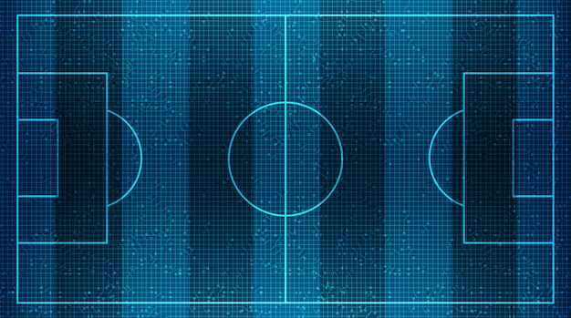 Modern football field on virtual digital technology background.vector