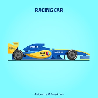 Modern formula 1 racing car with flat design