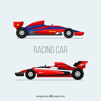 Modern formula 1 racing cars with flat design