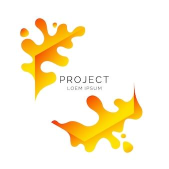 Modern frame on white background. bright poster with dynamic splashes.  illustration minimal  style Premium Vector