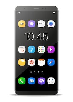 Современный безрамочный смартфон на белом фоне.
