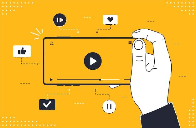 Современный безрамочный смартфон с видеоплеером на экране